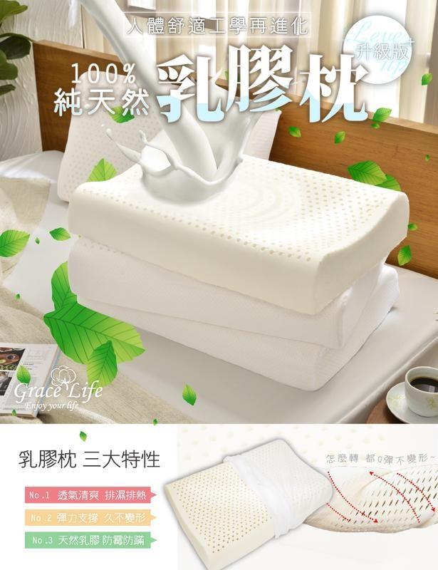 (免運)100%天然【人體工學乳膠枕/人體工學型透氣乳膠枕】1入